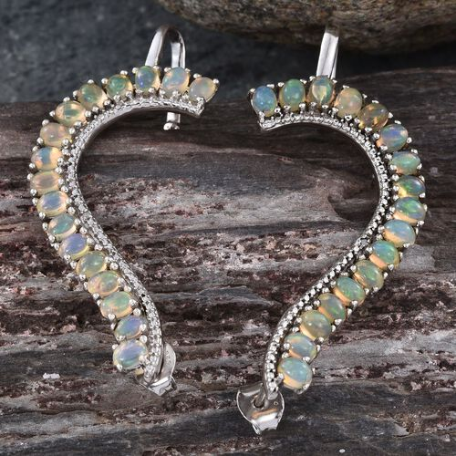 AA Ethiopian Welo Opal (Ovl), Diamond Earrings (with Push Back) in Platinum Overlay Sterling Silver 3.760 Ct.