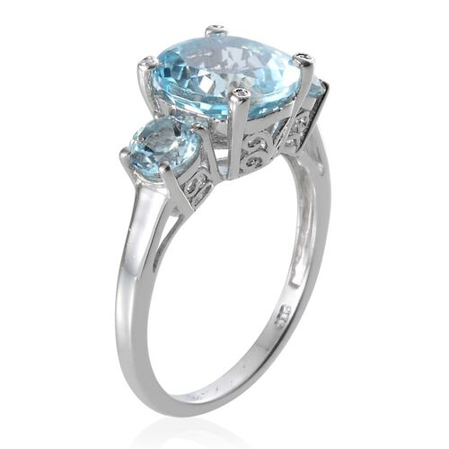 Sky Blue Topaz (Rnd 4.50 Ct), Diamond Ring in Platinum Overlay Sterling Silver 5.770 Ct.