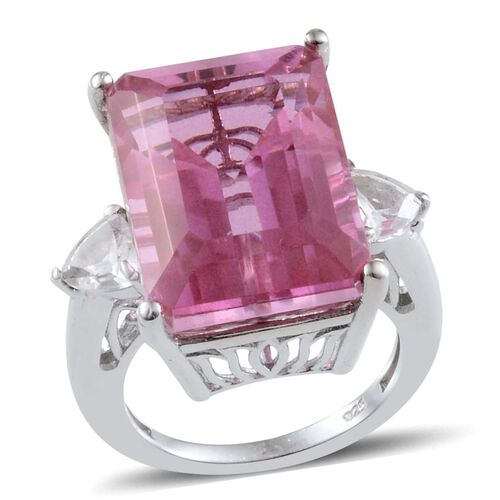 Kunzite Colour Quartz (Oct 19.00 Ct), White Topaz Ring in Platinum Overlay Sterling Silver 20.000 Ct.