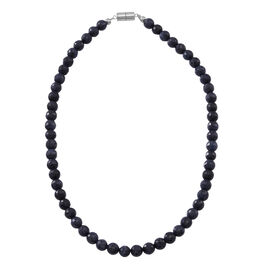 Kanchanaburi Blue Sapphire (Rnd) Beads Necklace (Size 18) in Rhodium Plated Sterling Silver 250.00 Ct.