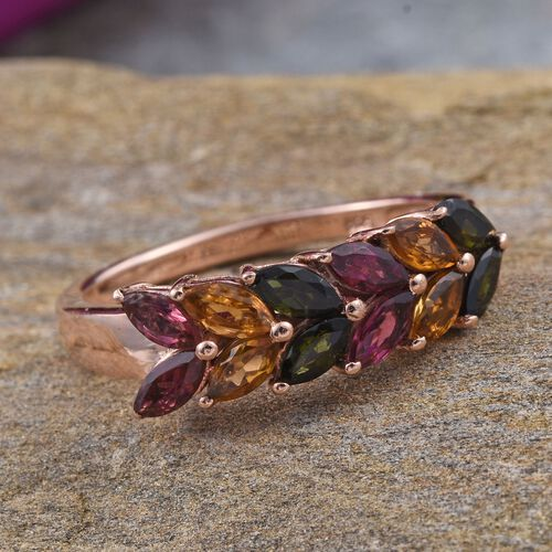 Rainbow Tourmaline (Mrq) Ring in Rose Gold Overlay Sterling Silver 1.500 Ct.