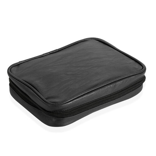 Black Colour Travelling Jewellery Bag (Size 25x20x6 Cm) with 5 Transparant Zipper Pouch (Size 19x15 Cm)