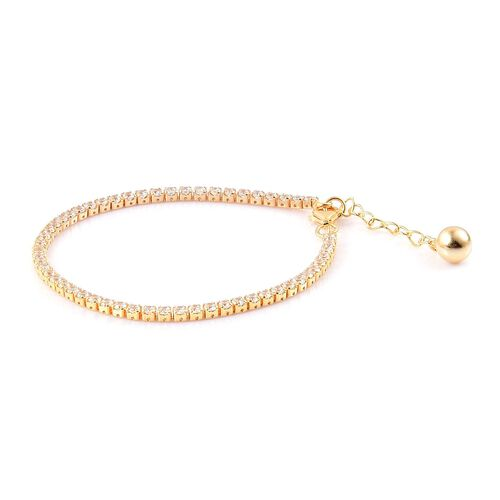 ELANZA AAA Simulated White Diamond Tennis Bracelet (Size 7 with 1 inch Extender) in Yellow Gold Overlay Sterling Silver