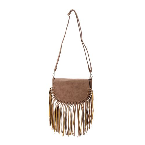 Camel Colour Crossbody Bag with Fringes and Adjustable and Removable Shoulder Strap (Size 25.5x17.5x8.5 Cm)