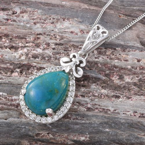 Natural Rare Opalina (Pear 4.35 Ct), Natural Cambodian Zircon Pendant with Chain in Platinum Overlay Sterling Silver 4.750 Ct.