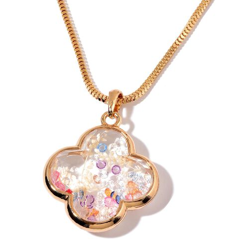 Gold Tone Pendant With Chain with Multi Colour Crystal and Cream Flower Inside