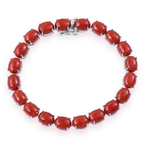 Red Jade (Ovl) Dragon Bracelet (Size 7.5) in Platinum Overlay Sterling Silver 51.000 Ct.