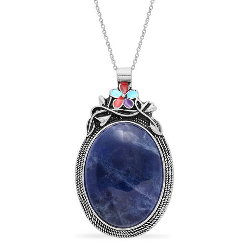 Close Out Deal Sodalite Enameled Pendant in Silver Tone With Stainless Steel Chain (Size 20) 35.000 Ct.