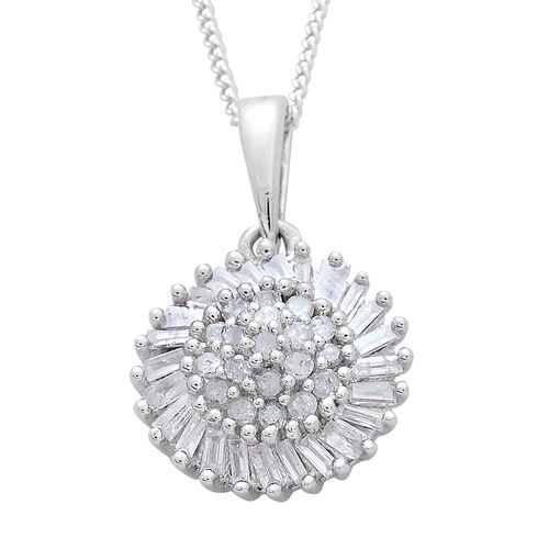 Diamond (Rnd) Floral Pendant with Chain in Platinum Overlay Sterling Silver 0.510 Ct.