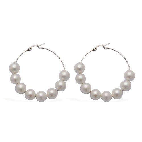White Resin Pearl Hoop Earrings in Stainless Steel