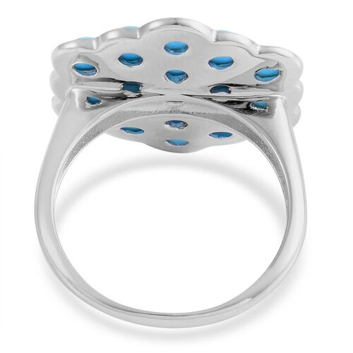 Arizona Sleeping Beauty Turquoise (Rnd) Cluster Ring in Platinum Overlay Sterling Silver 4.250 Ct.