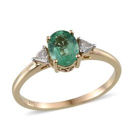 14K Y Gold Boyaca Colombian Emerald (Ovl 1.10 Ct), Diamond Ring 1.250 Ct.