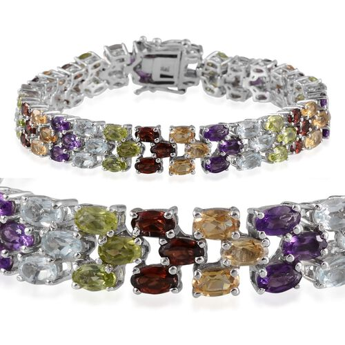 Sky Blue Topaz (Ovl), Mozambique Garnet, Hebei Peridot, Citrine and Amethyst Bracelet in Platinum Overlay Sterling Silver (Size 7) 21.000 Ct.