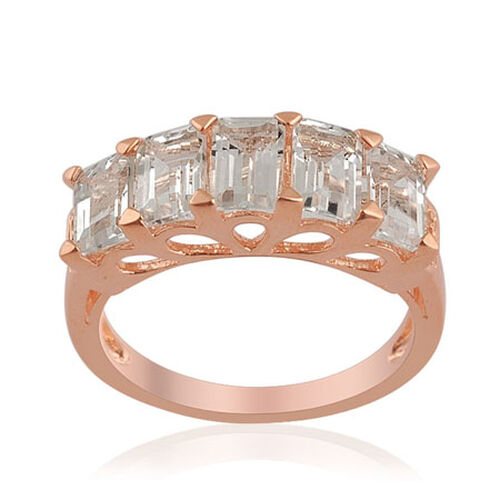 KARIS White Topaz (3.53 Ct) Rose Gold Bond Brass Ring
