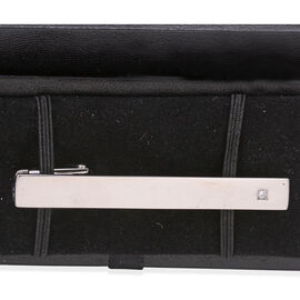 Close Out Deal AAA Simulated Diamond (Rnd) Tie-Clip in Stainless Steel