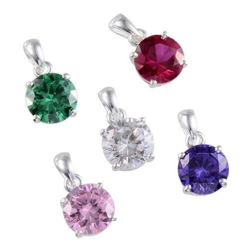 Set of 5 - AAA Simulated Diamond (Rnd), Simulated Pink Sapphire, Simulated Blue Sapphire, Simulated Ruby and Simulated Emerald Pendant in Sterling Silver