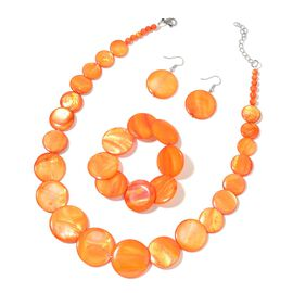 Orange Shell Coin Necklace (Size 18 with 2 inch Extender), Stretchable Bracelet (Size 7) and Hook Earrings in Stainless Steel 456.500 Ct.