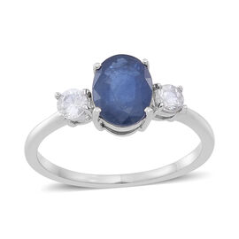 9K W Gold Kanchanaburi Blue Sapphire (Ovl 1.50 Ct), Natural Cambodian White Zircon Ring 1.750 Ct.