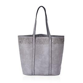Grey Colour Tote Bag (Size 43.5x35x32x12 Cm)
