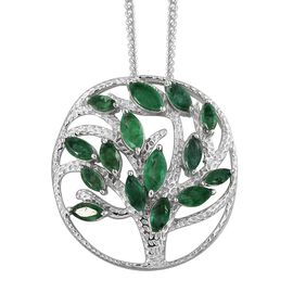 GP Kagem Zambian Emerald (Mrq), Kanchanaburi Blue Sapphire Tree Pendant With Chain in Platinum Overlay Sterling Silver 2.500 Ct.