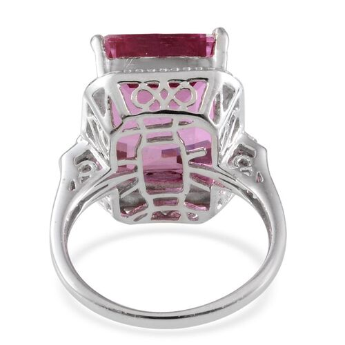 Kunzite Colour Quartz (Oct 13.50 Ct), Diamond Ring in Platinum Overlay Sterling Silver 13.520 Ct.