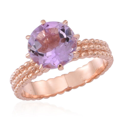 Rose De France Amethyst (Rnd) Solitaire Ring in Rose Gold Overlay Sterling Silver 3.500 Ct.