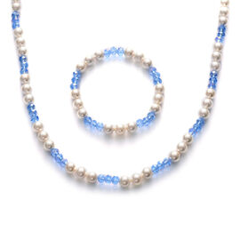 Blue Glass and White Shell Pearl Necklace (Size 28) and Bracelet (Size 7.50)