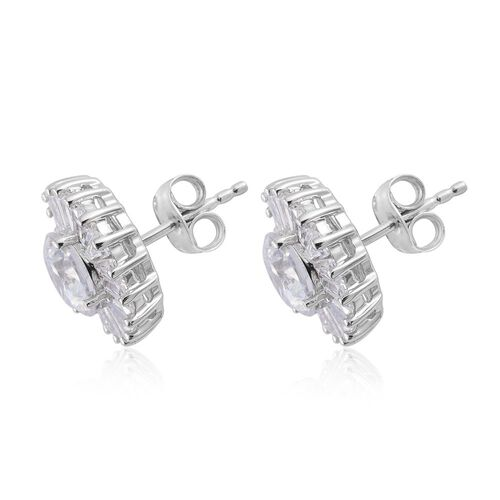9K White Gold Stud Earrings Made with SWAROVSKI ZIRCONIA  (with Push Back)