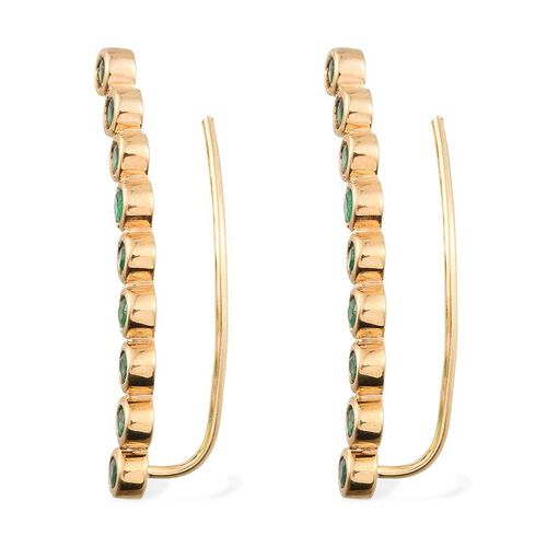 Kagem Zambian Emerald (Rnd) Climber Earrings in 14K Gold Overlay Sterling Silver 2.000 Ct.