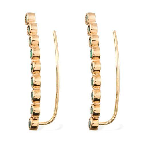 Kagem Zambian Emerald (Rnd) Climber Earrings in 14K Gold Overlay Sterling Silver 2.000 Ct.