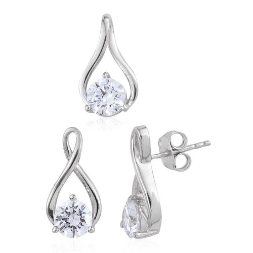 J Francis - Platinum Overlay Sterling Silver (Rnd) Pendant and Earrings (with Push Back) Made with SWAROVSKI ZIRCONIA