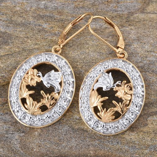 Yellow Gold and Platinum Overlay Sterling Silver Butterfly and Floral Lever Back Earrings, Silver wt 8.50 Gms