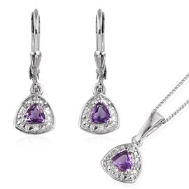 Amethyst (Trl), Diamond Pendant with Chain and Lever Back Earrings in Platinum Overlay Sterling Silver 0.780 Ct.