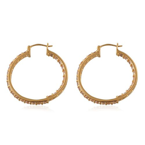 Marropino Morganite (Rnd) Hoop Earrings in 14K Gold Overlay Sterling Silver 4.500 Ct.