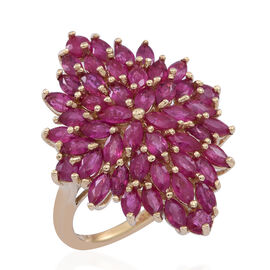 9K Y Gold Burmese Ruby (Mrq) Cluster Ring 5.500 Ct.