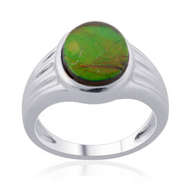 Tucson Collection Canadian Ammolite (Ovl) Solitaire Ring in Platinum Overlay Sterling Silver 2.400 Ct.