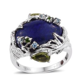 Royal Jaipur Lapis Lazuli (Ovl 14.50 Ct), Hebei Peridot, Russian Diopside, Electric Swiss Blue Topaz and Burmese Ruby Ring in Platinum Overlay Sterling Silver 16.000 Ct.