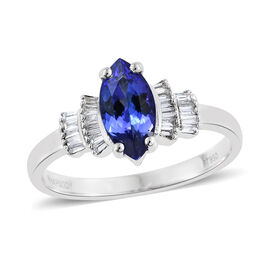 RHAPSODY 950 Platinum 1.25 Carat AAAA Tanzanite Ring With Diamond VS E-F