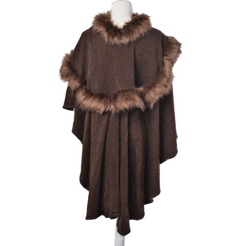 Chocolate Colour Cape with Faux Fur Collar (Free Size)