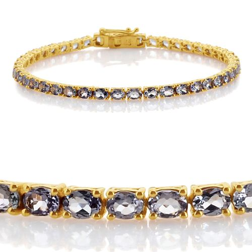 Green Tanzanite (Ovl) Bracelet (Size 7.5) in 14K Gold Overlay Sterling Silver 6.750 Ct.
