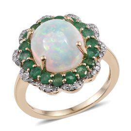 9K Y Gold Ethiopian Welo Opal (Ovl 2.80 Ct), Brazilian Emerald and Diamond Ring 4.000 Ct.