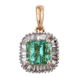 ILIANA 18K Y Gold AAA Boyaca Colombian Emerald (Oct 1.05 Ct), Diamond (SI/G-H) Pendant 1.250 Ct.