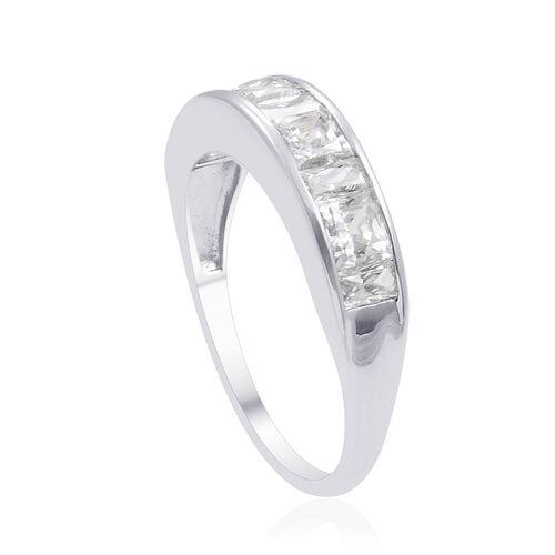 9K W Gold (Bgt) Half Eternity Band Ring Made with SWAROVSKI ZIRCONIA 2.110 Ct.