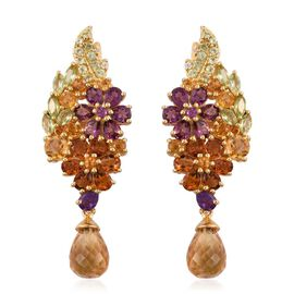 GP Amethyst, Rhodolite Garnet, Citrine, Hebei Peridot, Kanchanaburi Blue Sapphire and Natural Cambodian Zircon Floral Earrings (with Push Back) in 14K Gold Overlay Sterling Silver 13.000 Ct.
