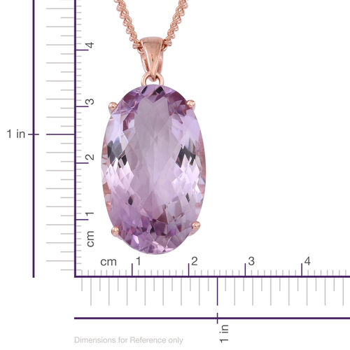 Rare Size Rose De France Amethyst (Ovl) Pendant With Chain in 14K Rose Gold Overlay Sterling Silver 22.000 Ct.