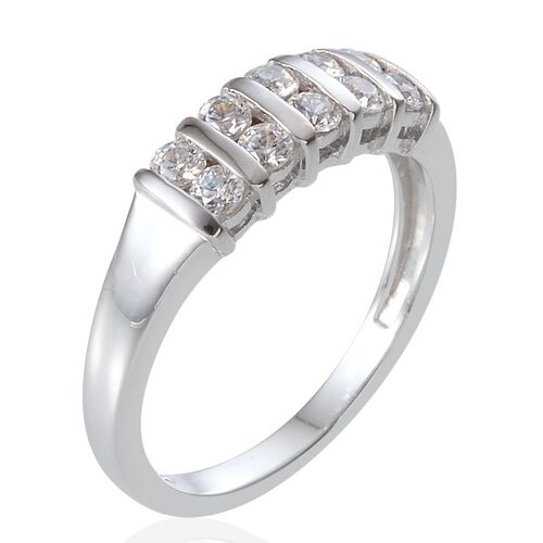 J Francis - Platinum Overlay Sterling Silver (Rnd) Ring Made With SWAROVSKI ZIRCONIA 0.600 Ct.
