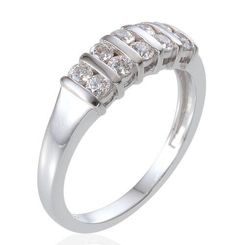 J Francis - Platinum Overlay Sterling Silver (Rnd) Ring Made With SWAROVSKI ZIRCONIA 0.600 Ct.