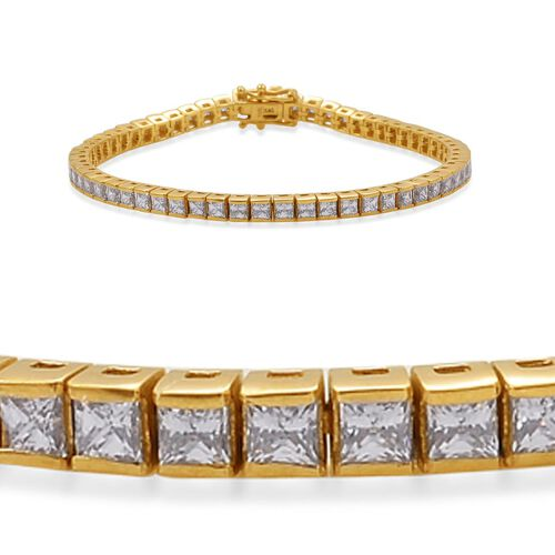 J Francis - 14K Gold Overlay Sterling Silver (Sqr) Bracelet (Size 8) Made with SWAROVSKI ZIRCONIA 10.080 Ct.