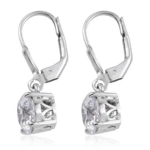 J Francis- Platinum Overlay Sterling Silver (Rnd) Earrings Made with SWAROVSKI ZIRCONIA