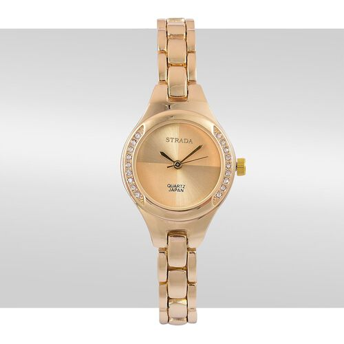 STRADA Japanese Movement White Austrian Crystal Studded Watch in Yellow Gold Tone with Chain Strap